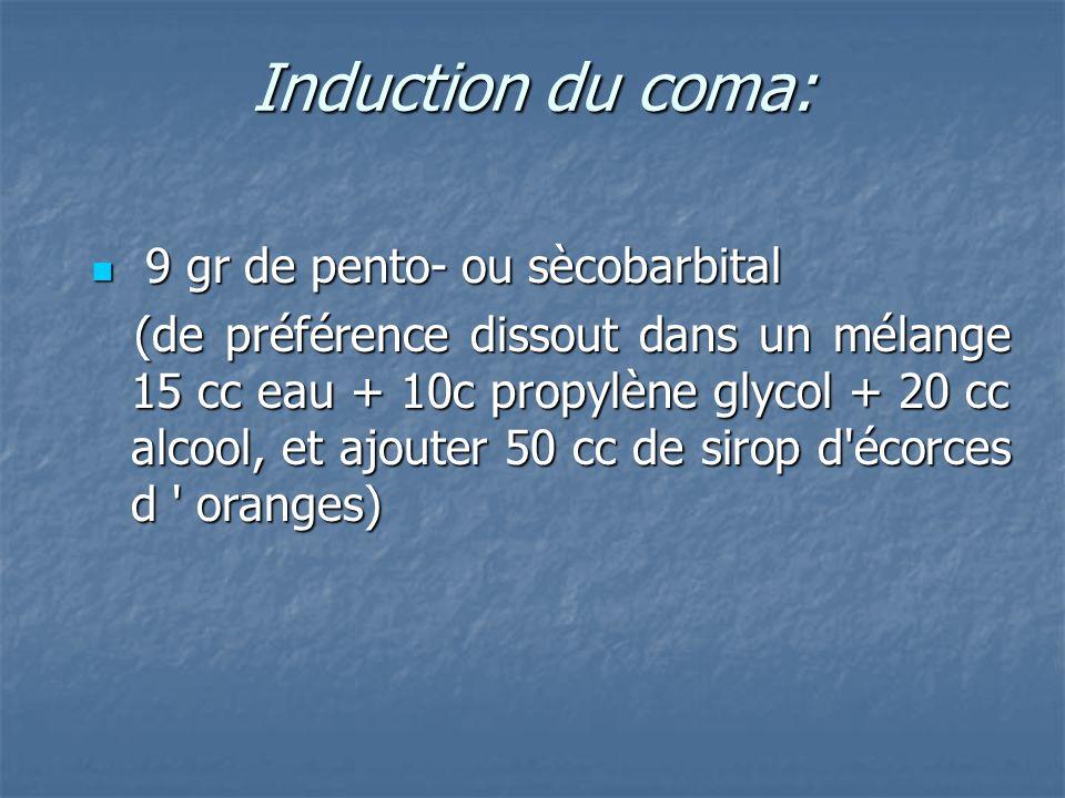 Induction du coma: 9 gr de pento- ou sècobarbital