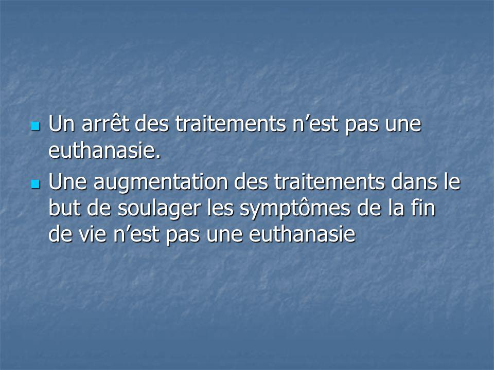 Un arrêt des traitements n'est pas une euthanasie.