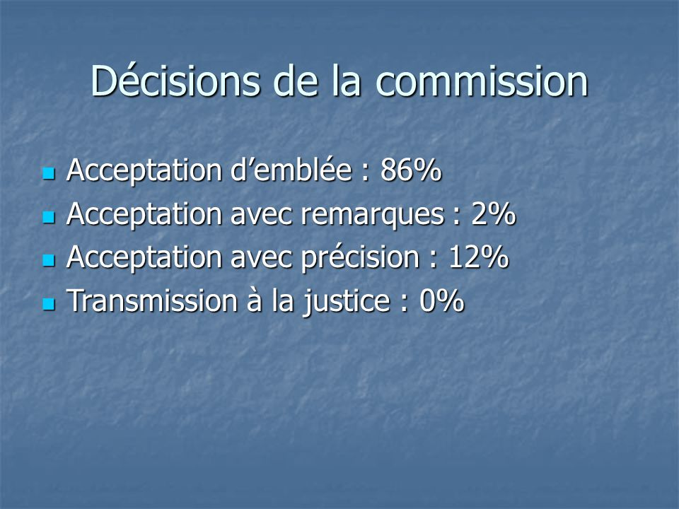 Décisions de la commission