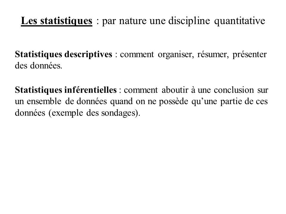 Les statistiques : par nature une discipline quantitative