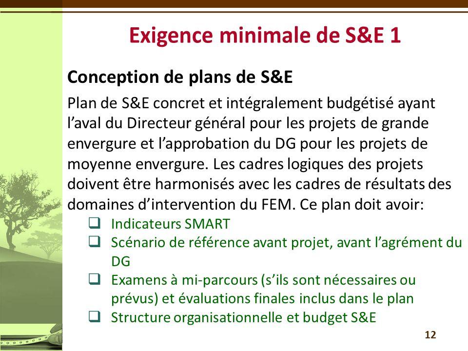 Exigence minimale de S&E 1