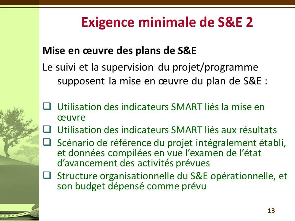 Exigence minimale de S&E 2