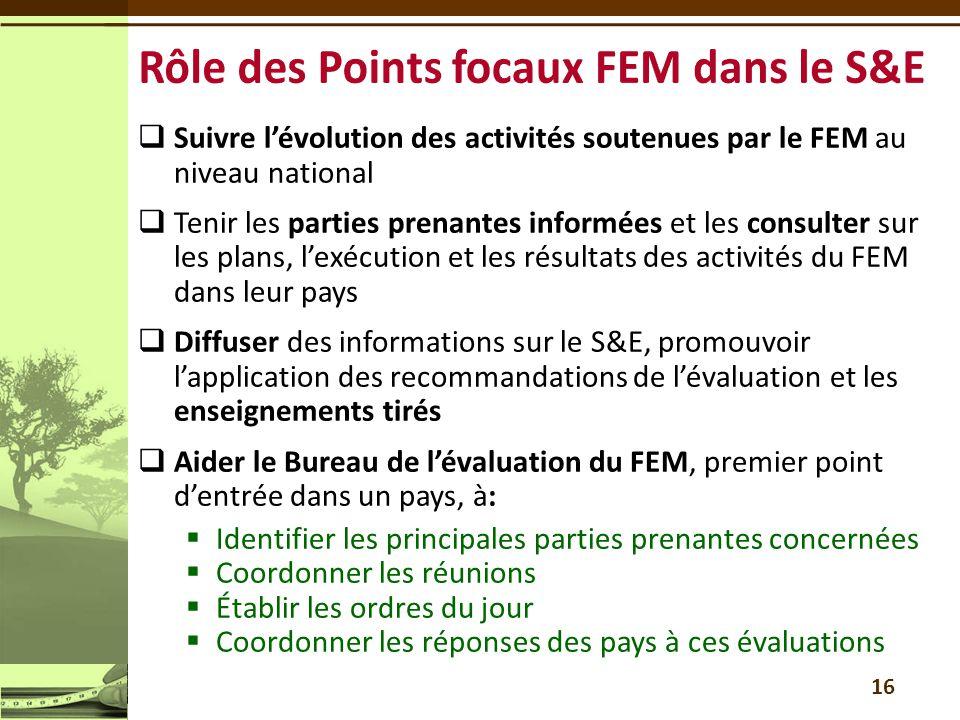 Rôle des Points focaux FEM dans le S&E