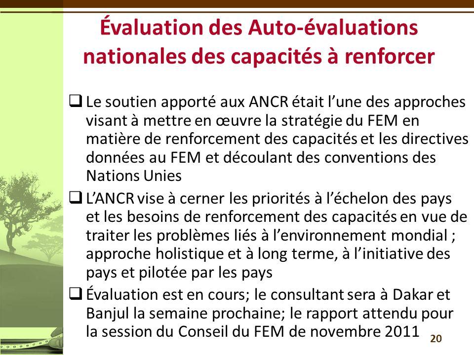 Évaluation des Auto-évaluations nationales des capacités à renforcer