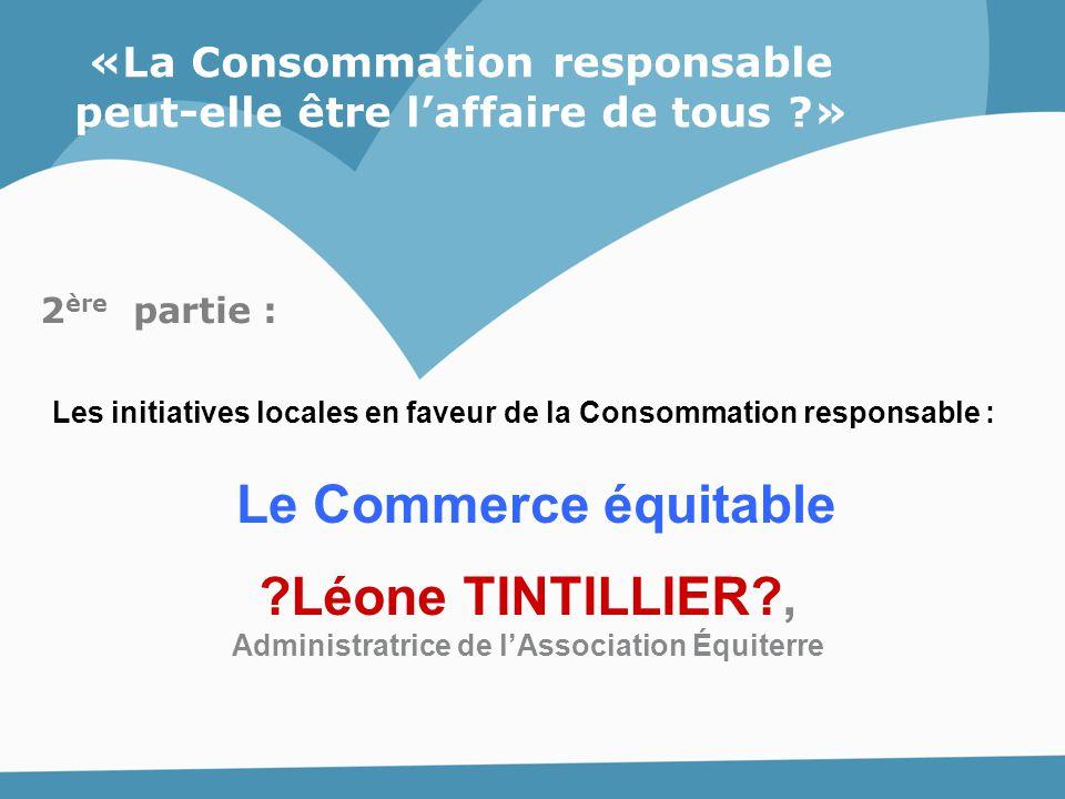 Le Commerce équitable Léone TINTILLIER ,
