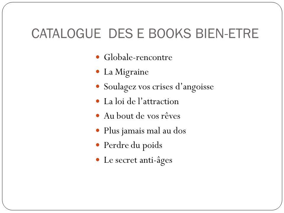 CATALOGUE DES E BOOKS BIEN-ETRE