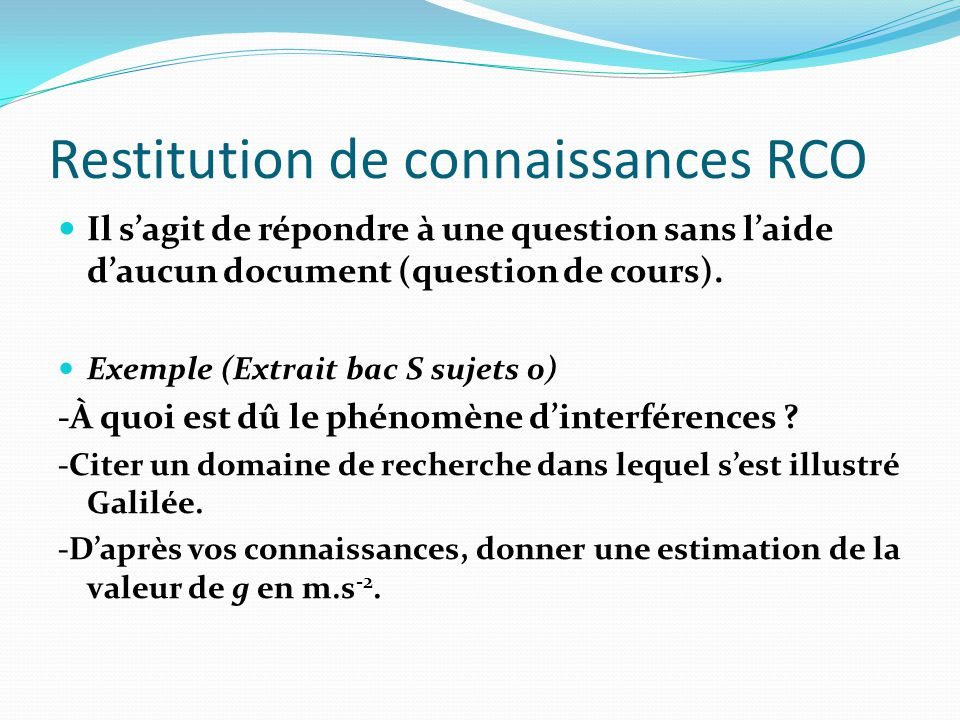 Restitution de connaissances RCO