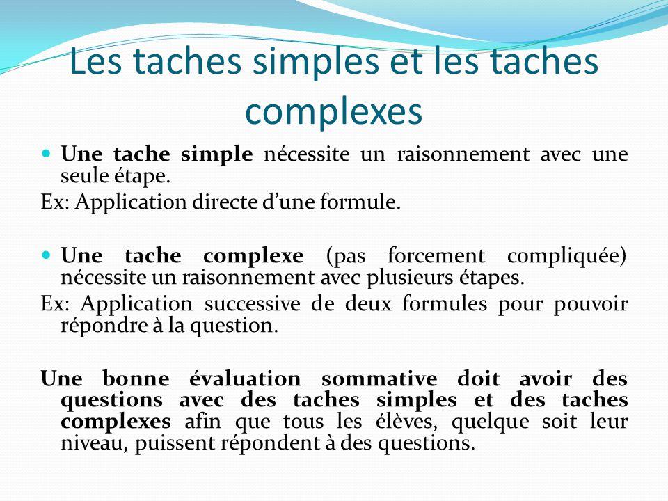 Les taches simples et les taches complexes