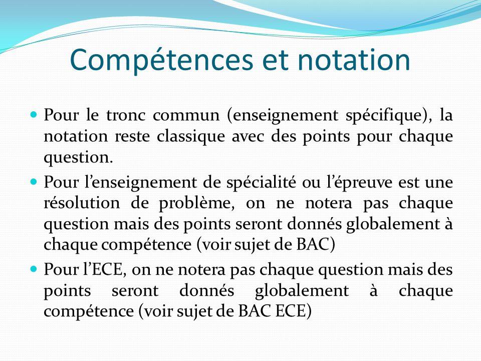 Compétences et notation