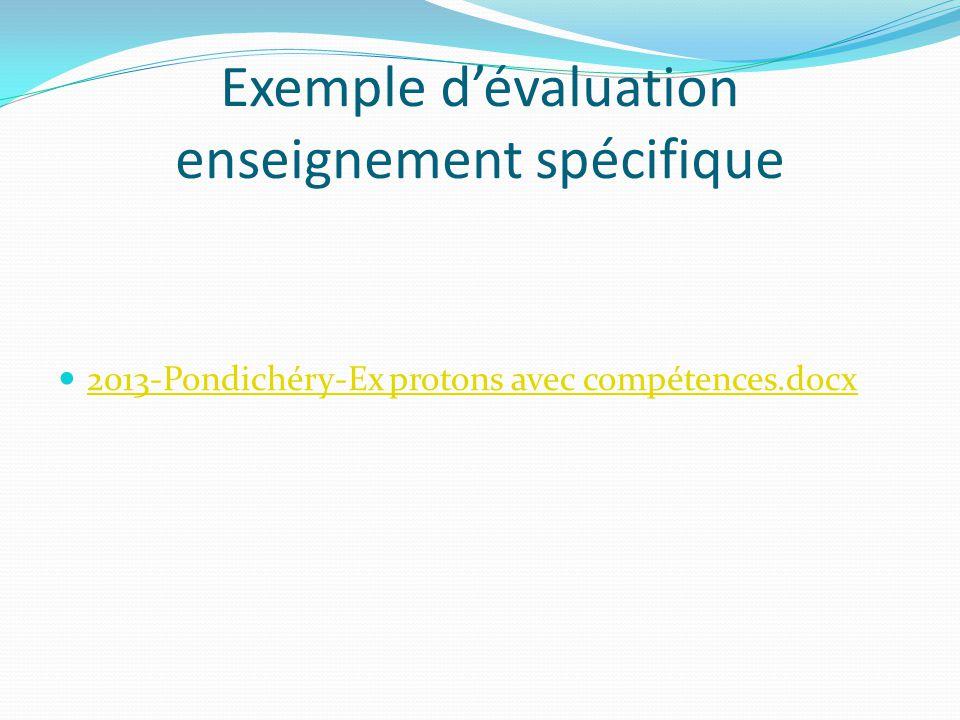Exemple d'évaluation enseignement spécifique