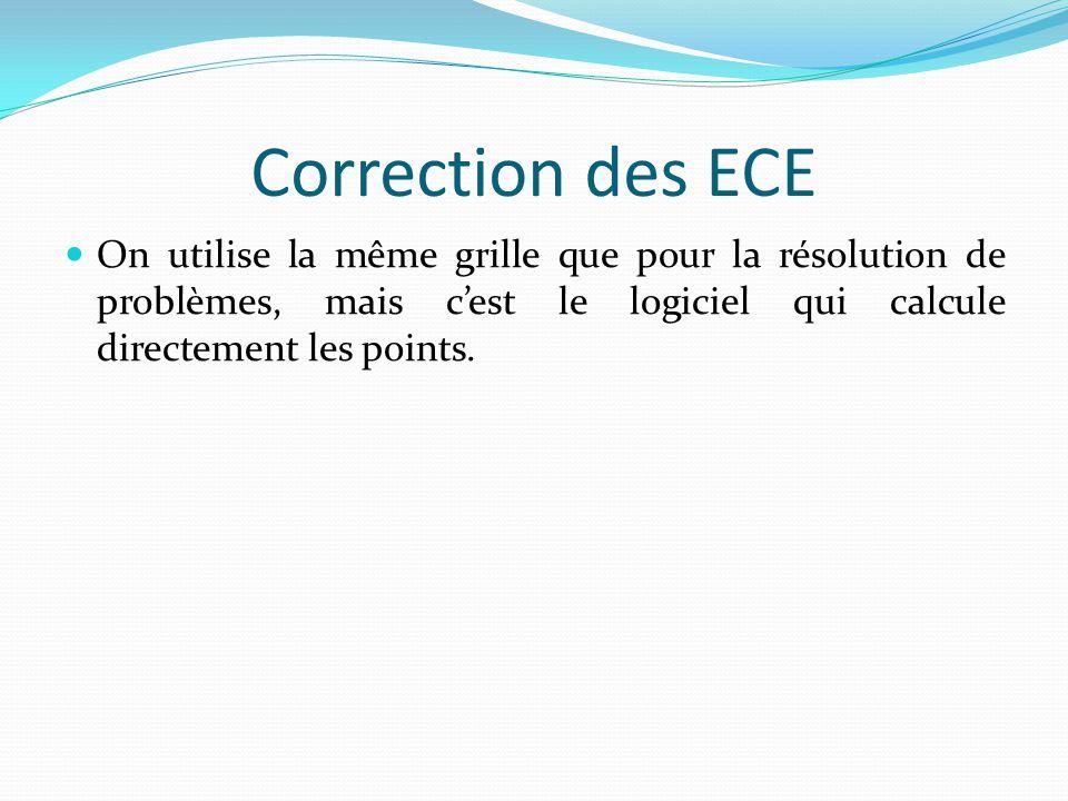 Correction des ECE On utilise la même grille que pour la résolution de problèmes, mais c'est le logiciel qui calcule directement les points.