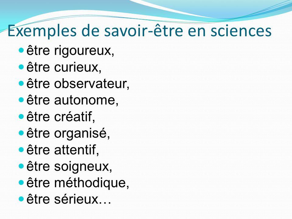 Exemples de savoir-être en sciences