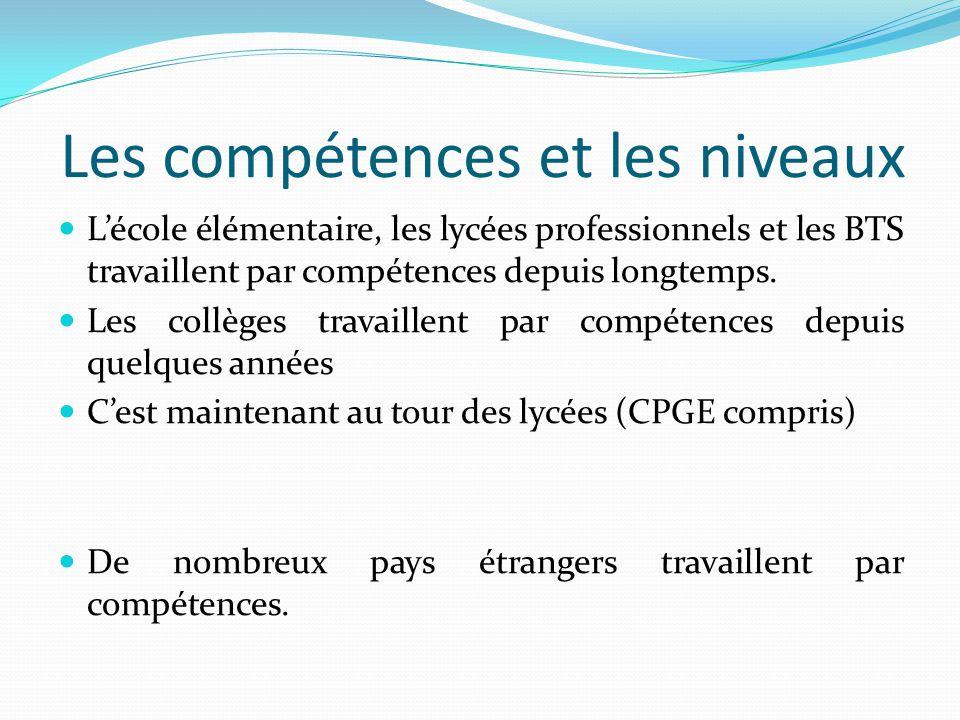 Les compétences et les niveaux
