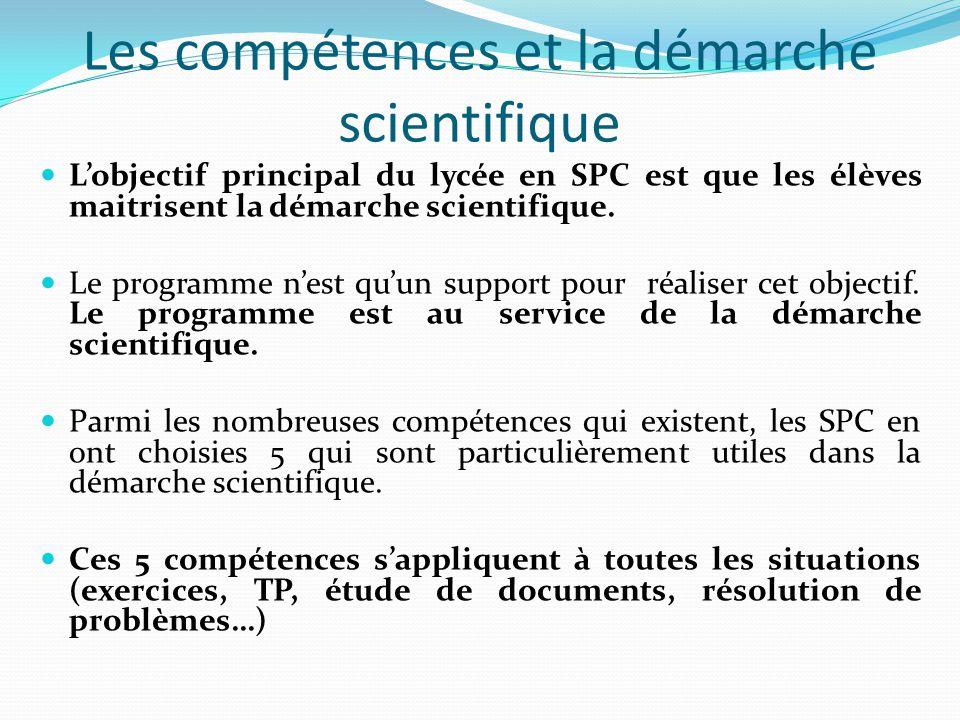 Les compétences et la démarche scientifique