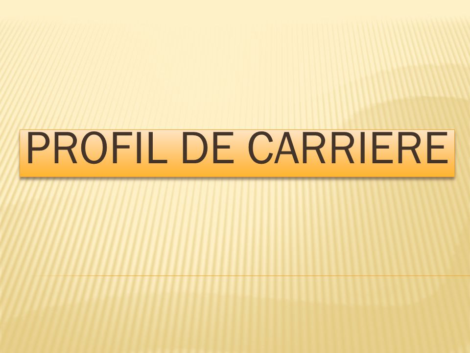 PROFIL DE CARRIERE