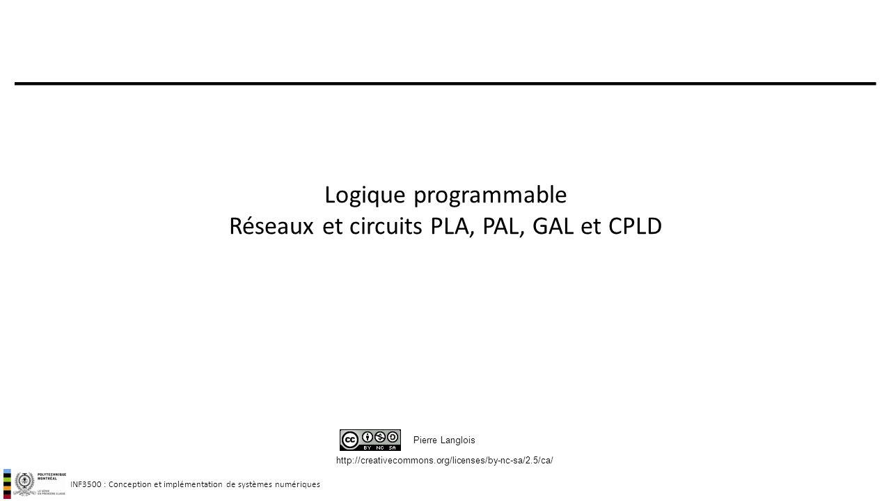 Logique programmable Réseaux et circuits PLA, PAL, GAL et CPLD