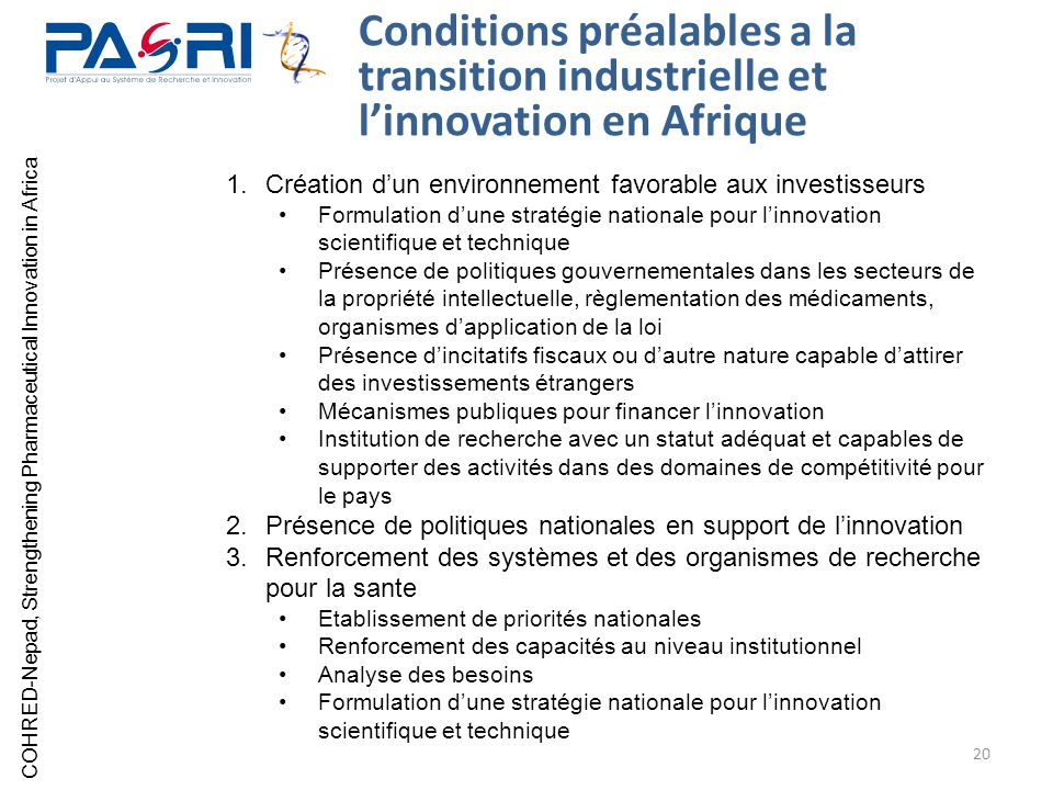 Conditions préalables a la transition industrielle et l'innovation en Afrique