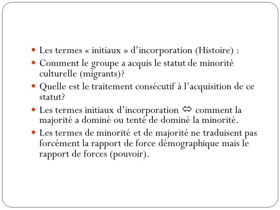 Les termes « initiaux » d'incorporation (Histoire) :