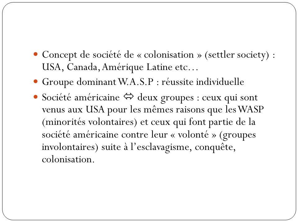 Concept de société de « colonisation » (settler society) : USA, Canada, Amérique Latine etc…
