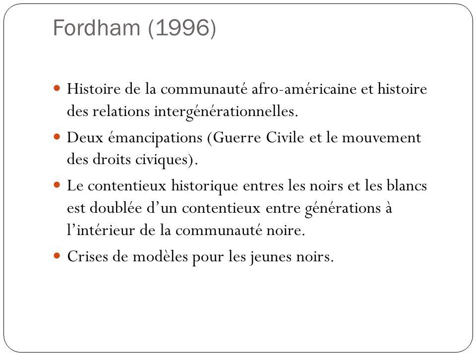 Fordham (1996) Histoire de la communauté afro-américaine et histoire des relations intergénérationnelles.