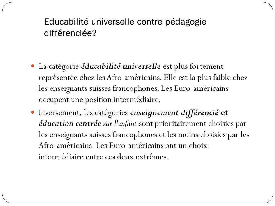 Educabilité universelle contre pédagogie différenciée