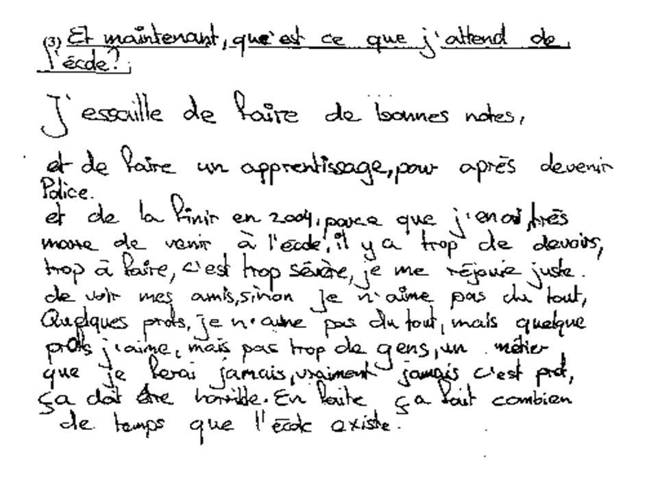 Je voudrais illustrer la pertinence de l'approche anthropologique par l'extrait d'un bilan de savoir rédigé par une élève de 14 ans dans le cadre d'une étude que je mène actuellement dans un cycle d'orientation à Bienne. Cette élève francophone (le père est étranger) est scolarisée dans une classe à faibles exigences