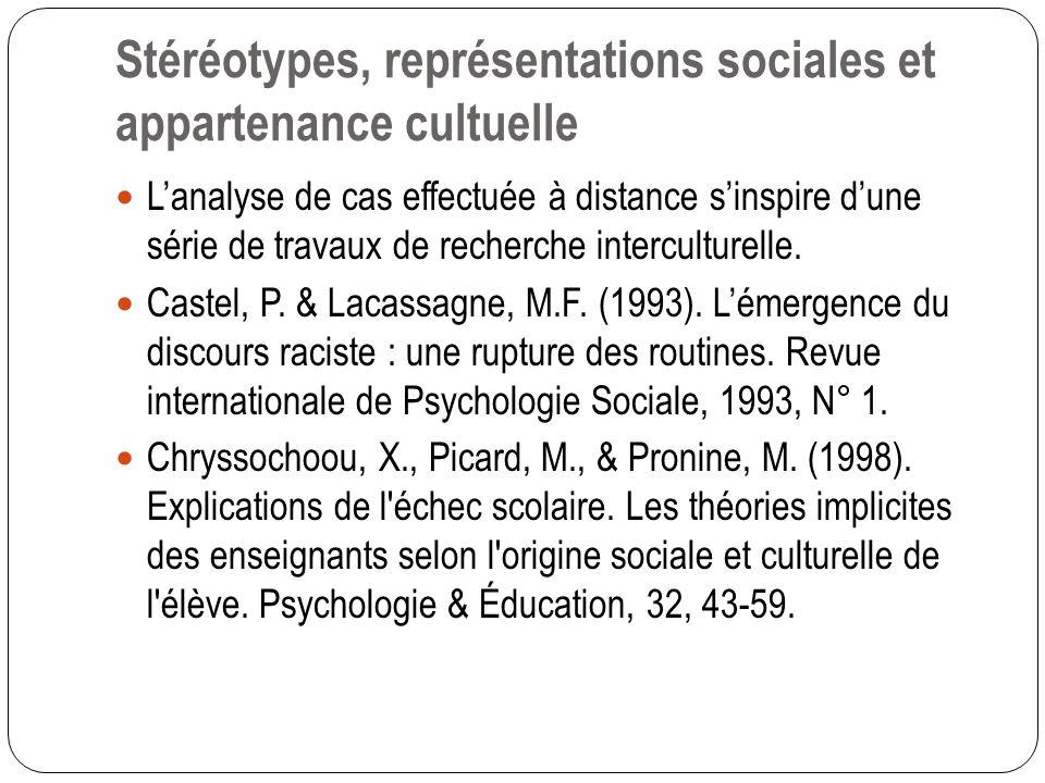 Stéréotypes, représentations sociales et appartenance cultuelle