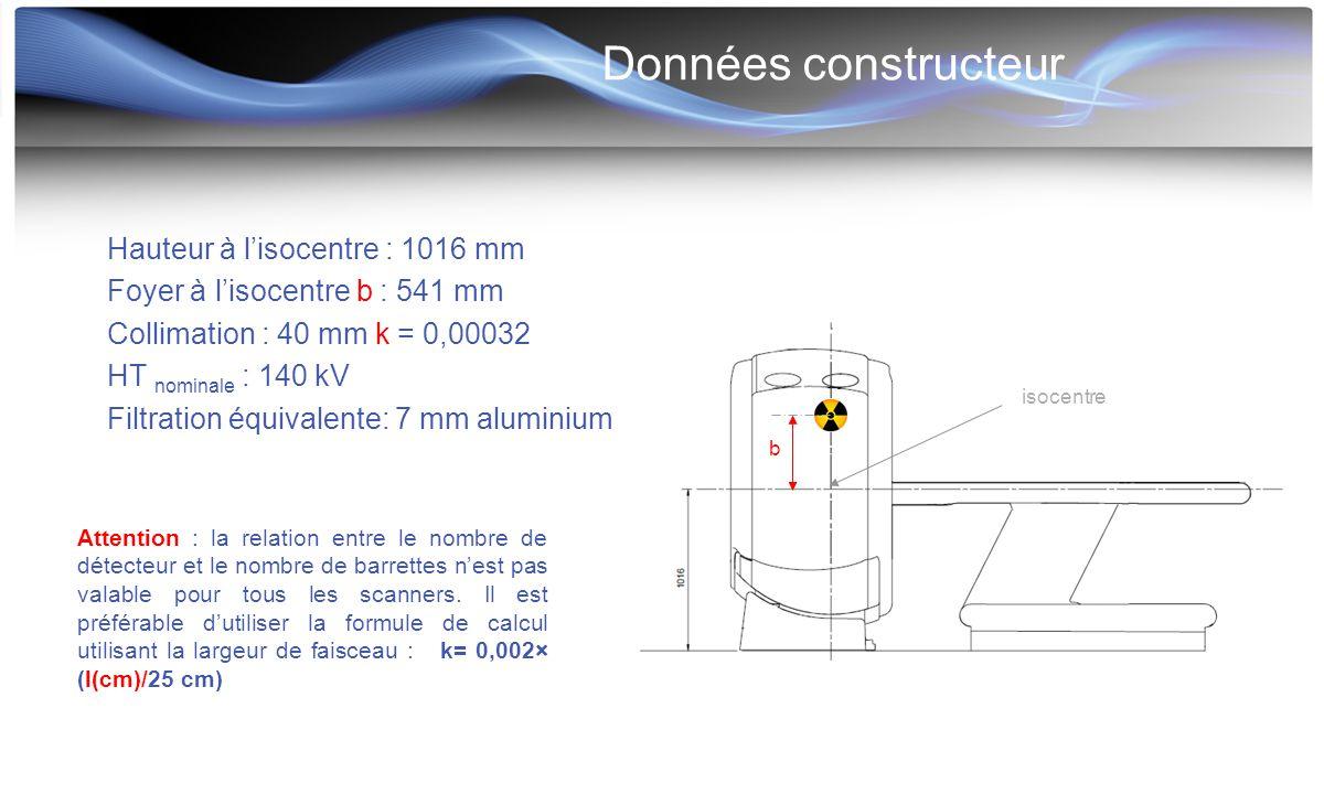 Données constructeur Hauteur à l'isocentre : 1016 mm