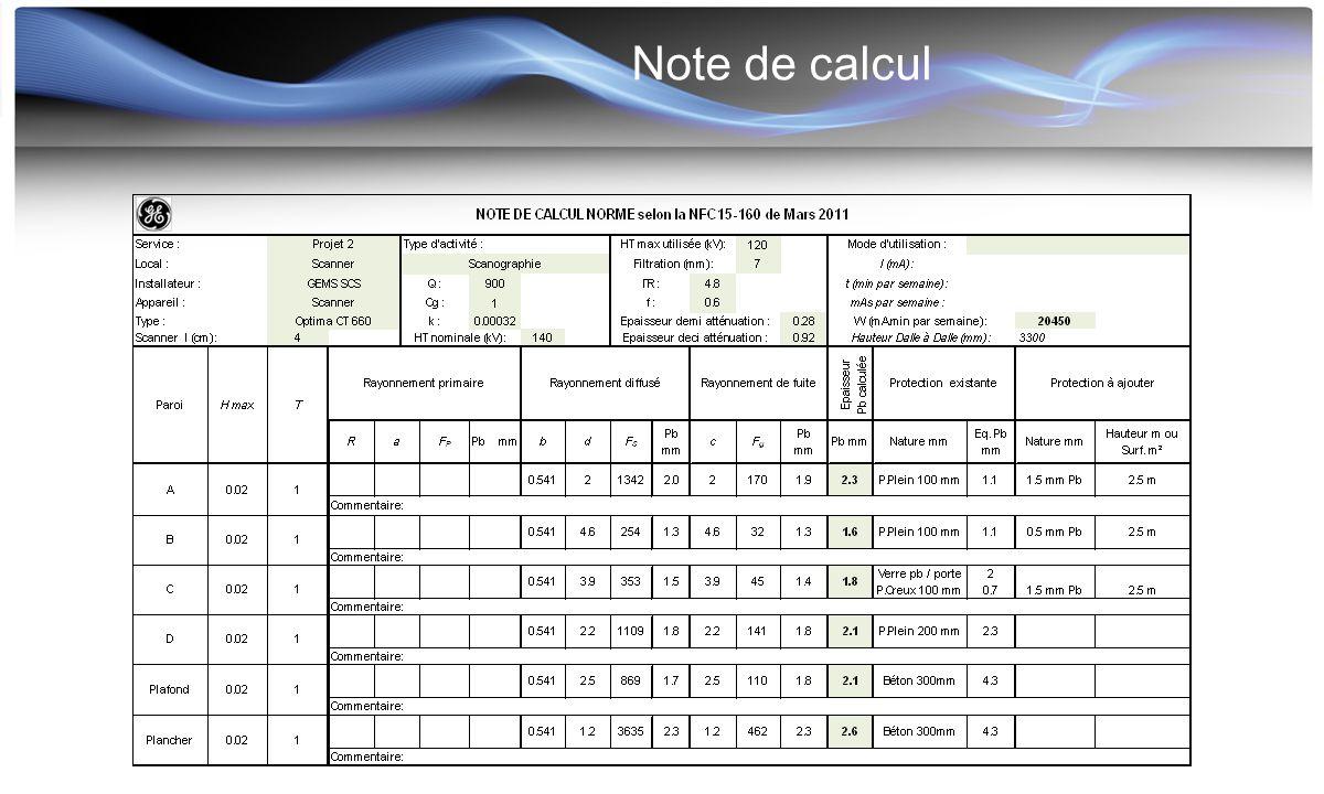 Note de calcul La justification du choix des valeurs W (et R) doit être fournie avec la note de calcul.