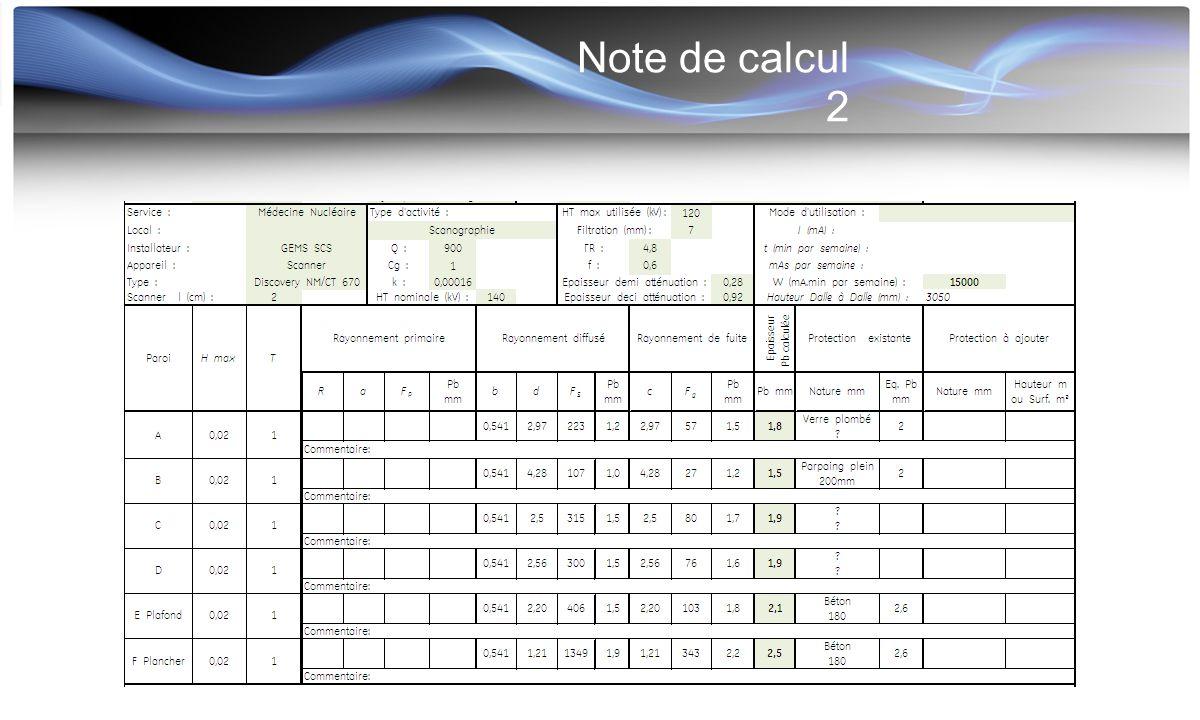 Note de calcul 2