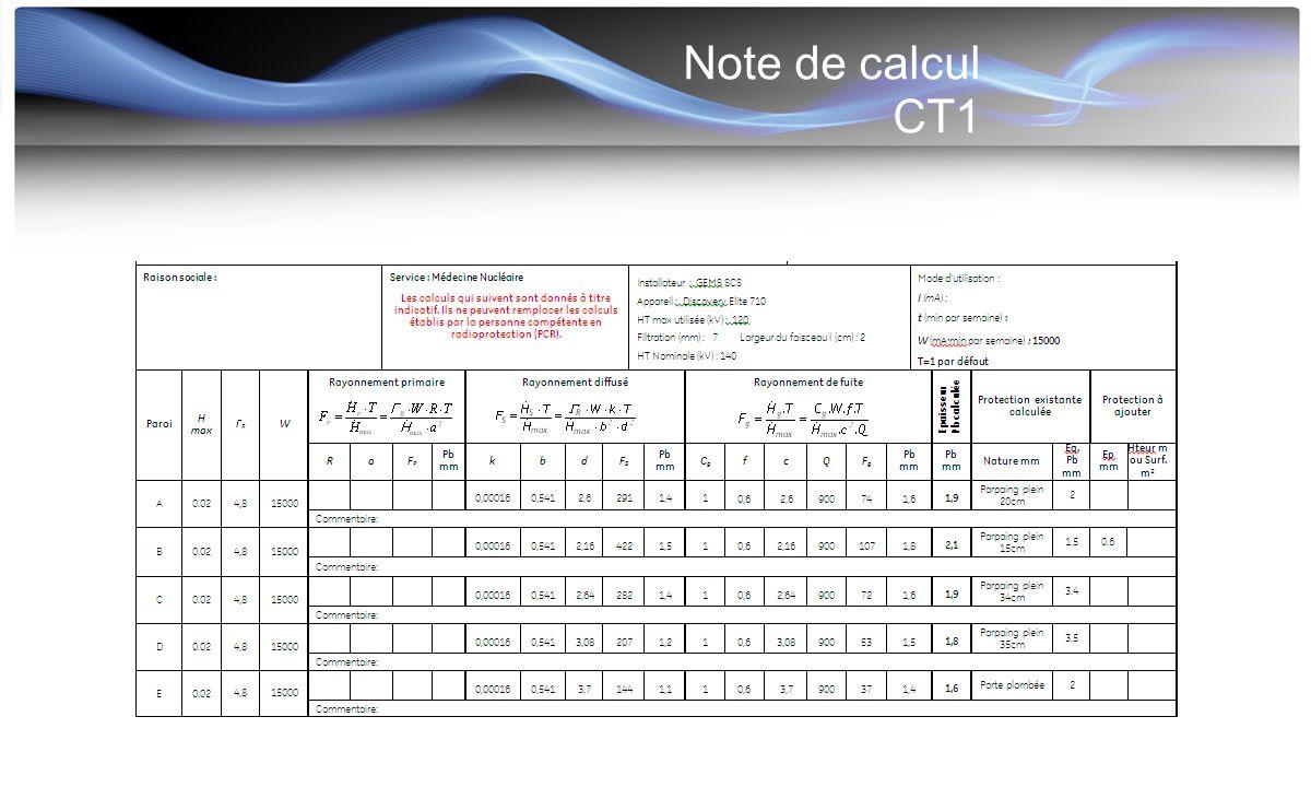 Note de calcul CT1 Variation selon la largeur de collimation