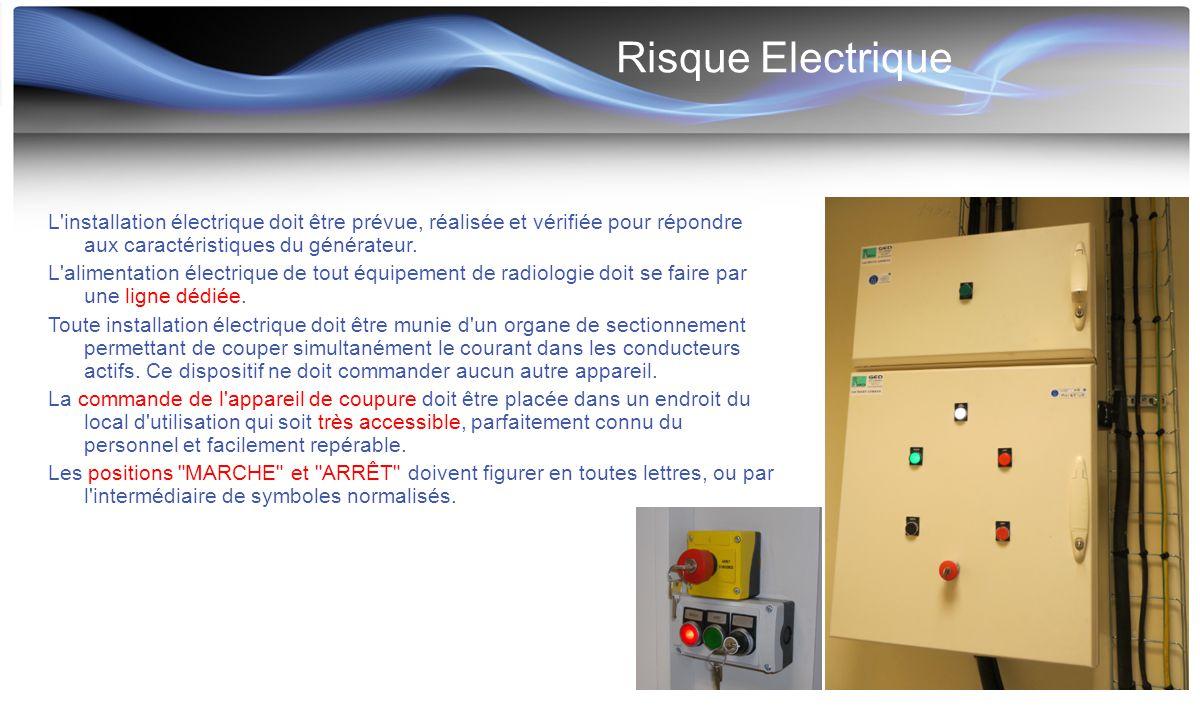 Risque Electrique L installation électrique doit être prévue, réalisée et vérifiée pour répondre aux caractéristiques du générateur.
