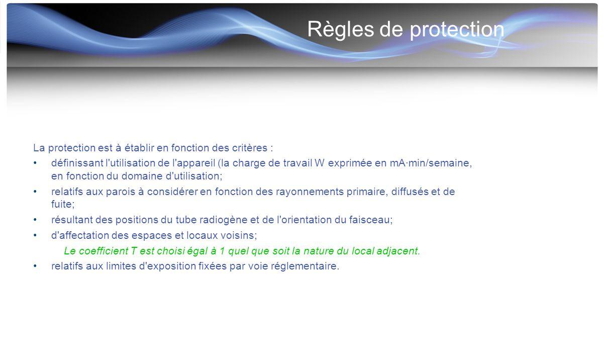Règles de protection La protection est à établir en fonction des critères :