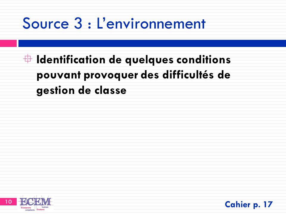 Source 3 : L'environnement