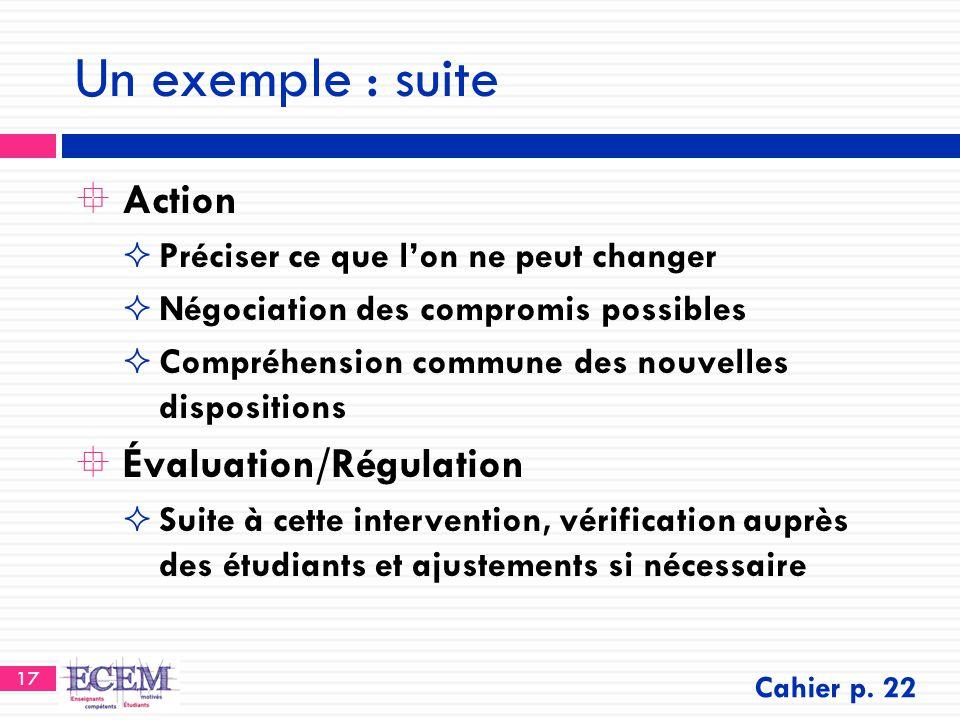 Un exemple : suite Action Évaluation/Régulation