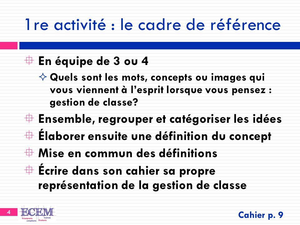 1re activité : le cadre de référence