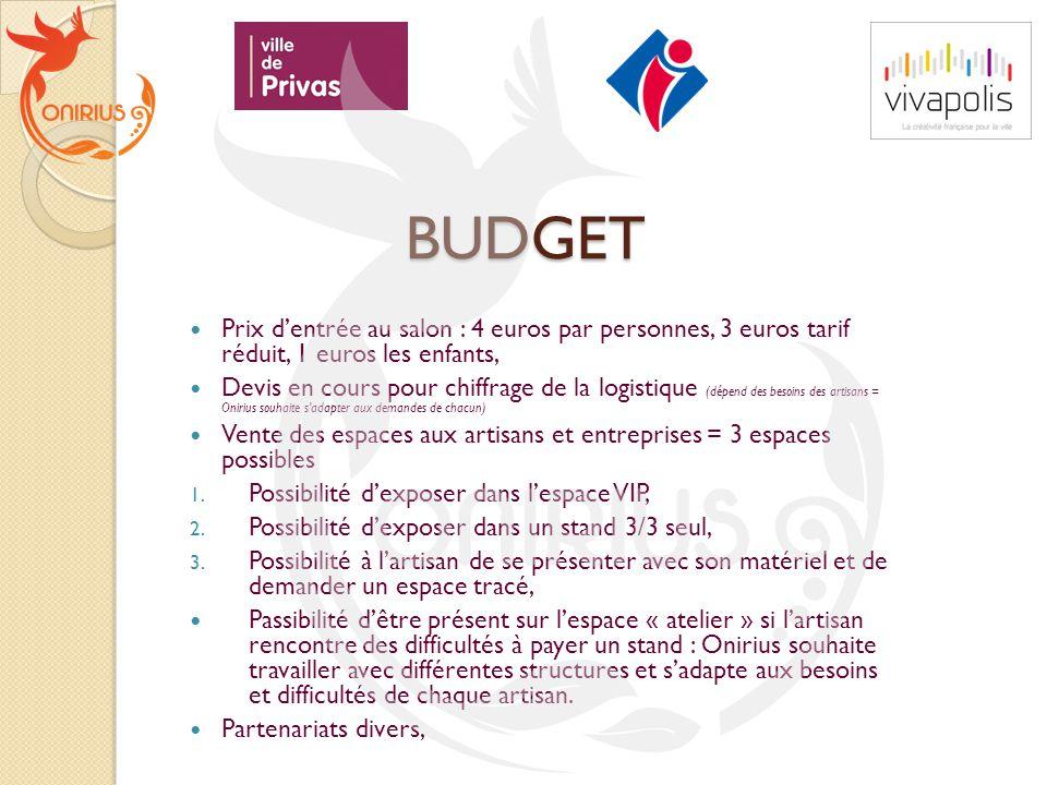 BUDGET Prix d'entrée au salon : 4 euros par personnes, 3 euros tarif réduit, 1 euros les enfants,