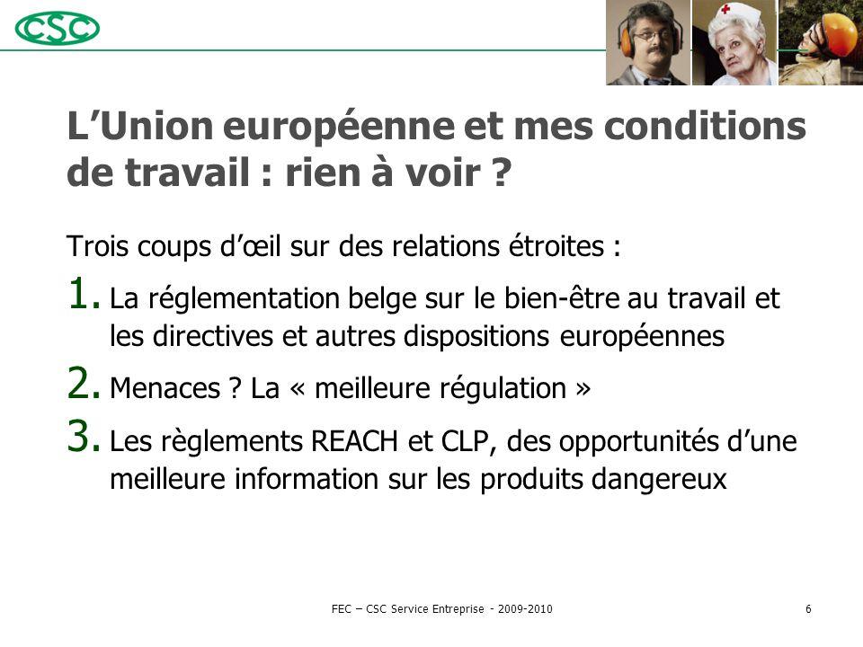 L'Union européenne et mes conditions de travail : rien à voir