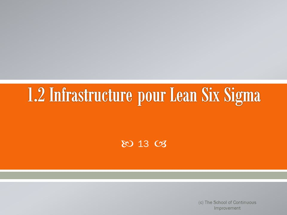 1.2 Infrastructure pour Lean Six Sigma