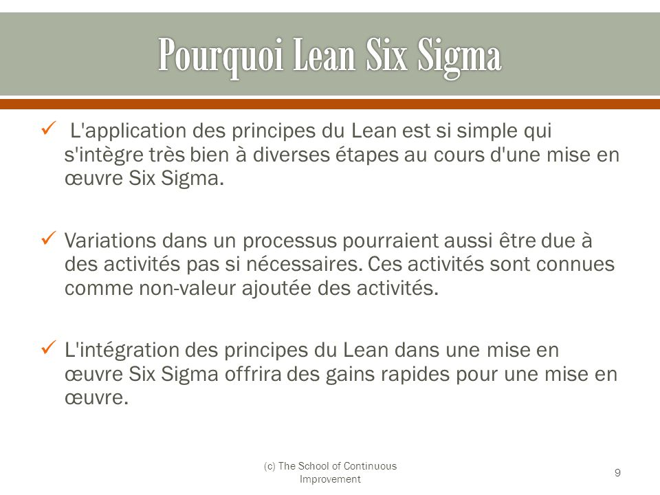 Pourquoi Lean Six Sigma