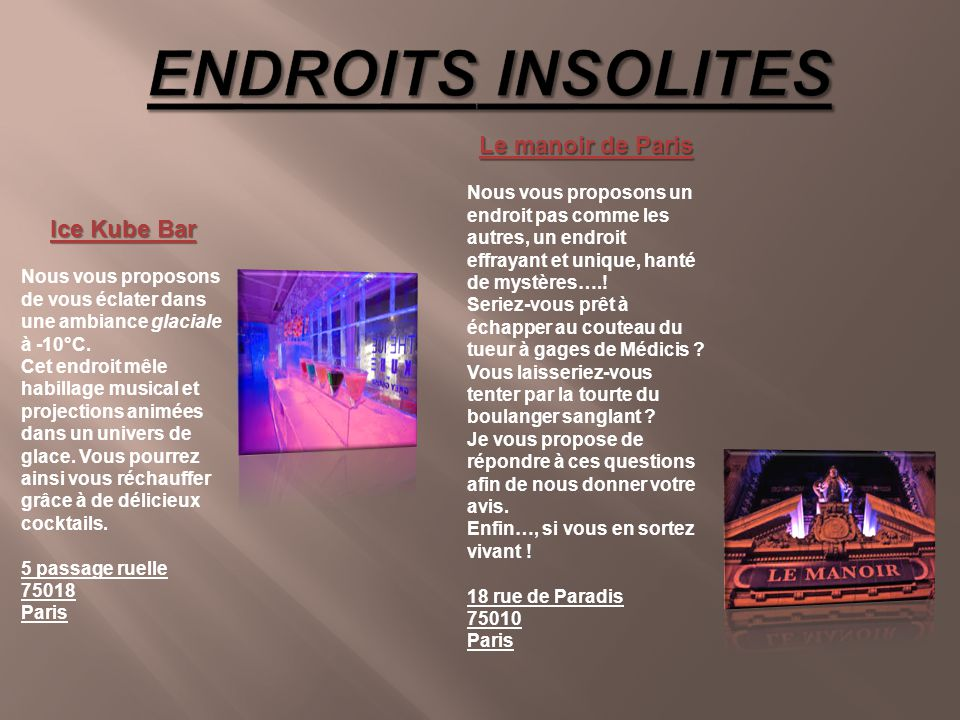 ENDROITS INSOLITES Le manoir de Paris Ice Kube Bar