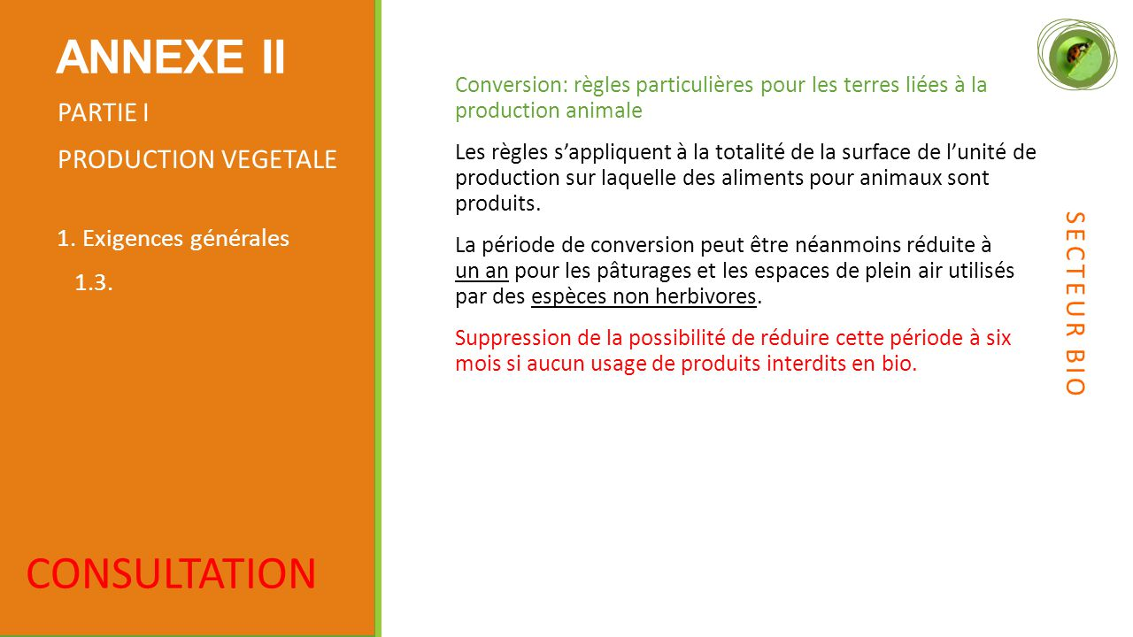 ANNEXE II CONSULTATION PARTIE I PRODUCTION VEGETALE SECTEUR BIO