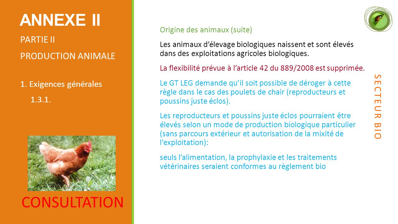 ANNEXE II CONSULTATION PARTIE II PRODUCTION ANIMALE SECTEUR BIO