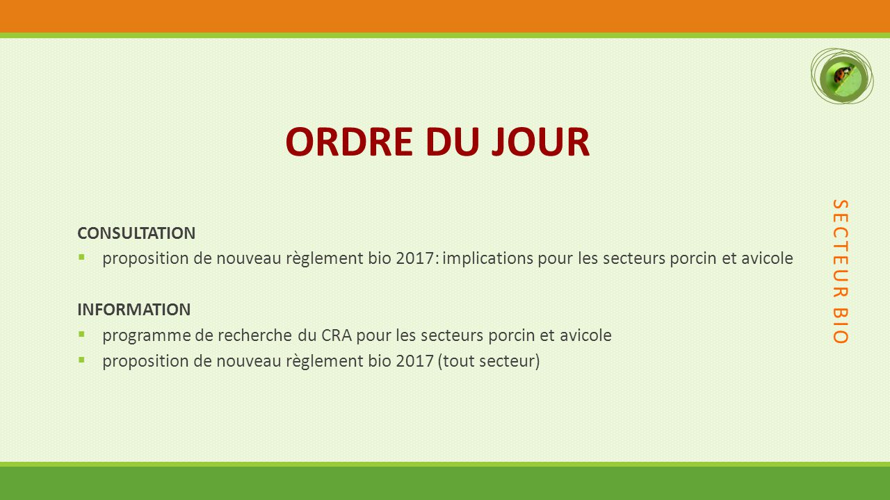 ORDRE DU JOUR SECTEUR BIO CONSULTATION