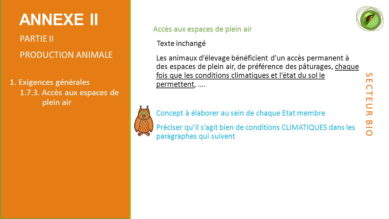 ANNEXE II PARTIE II PRODUCTION ANIMALE SECTEUR BIO