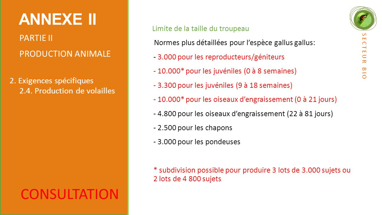 ANNEXE II CONSULTATION PARTIE II PRODUCTION ANIMALE