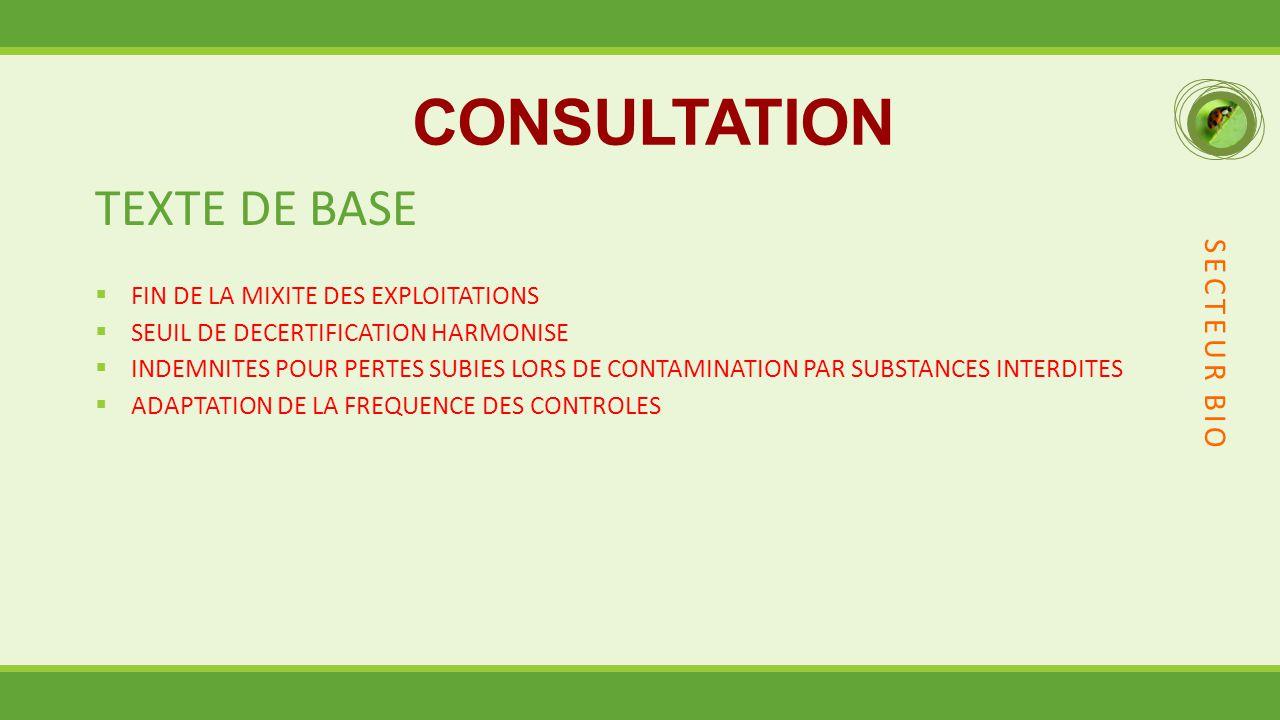 CONSULTATION TEXTE DE BASE SECTEUR BIO