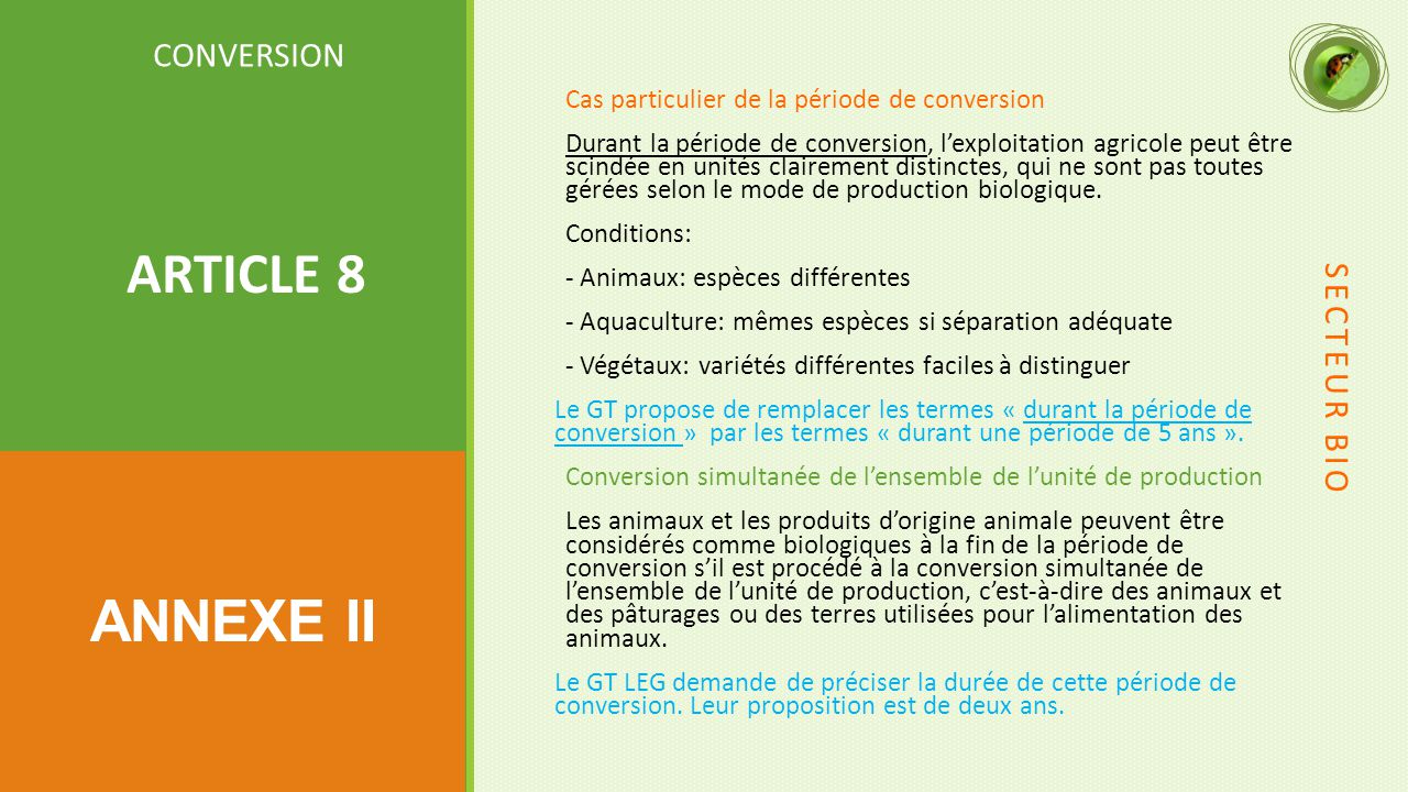 ARTICLE 8 ANNEXE II CONVERSION SECTEUR BIO
