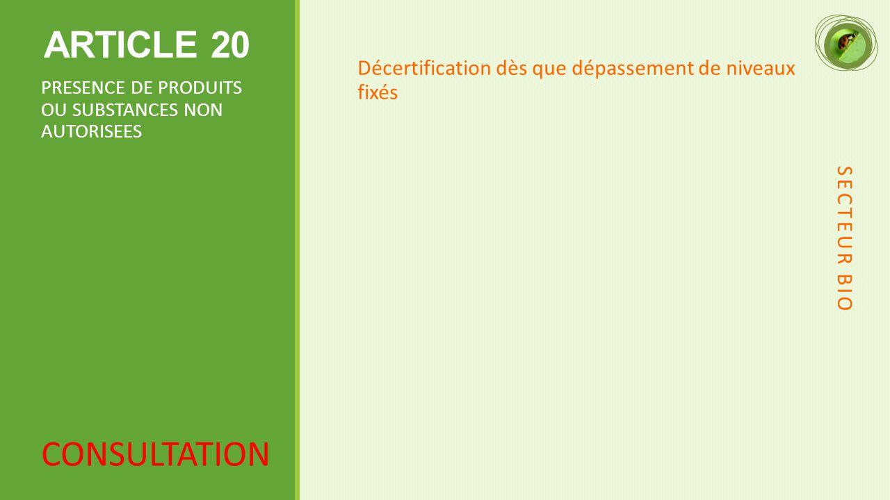 ARTICLE 20 Décertification dès que dépassement de niveaux fixés. PRESENCE DE PRODUITS OU SUBSTANCES NON AUTORISEES.