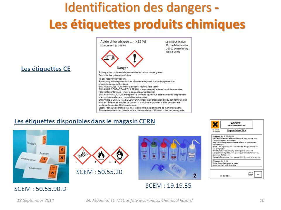 Identification des dangers - Les étiquettes produits chimiques